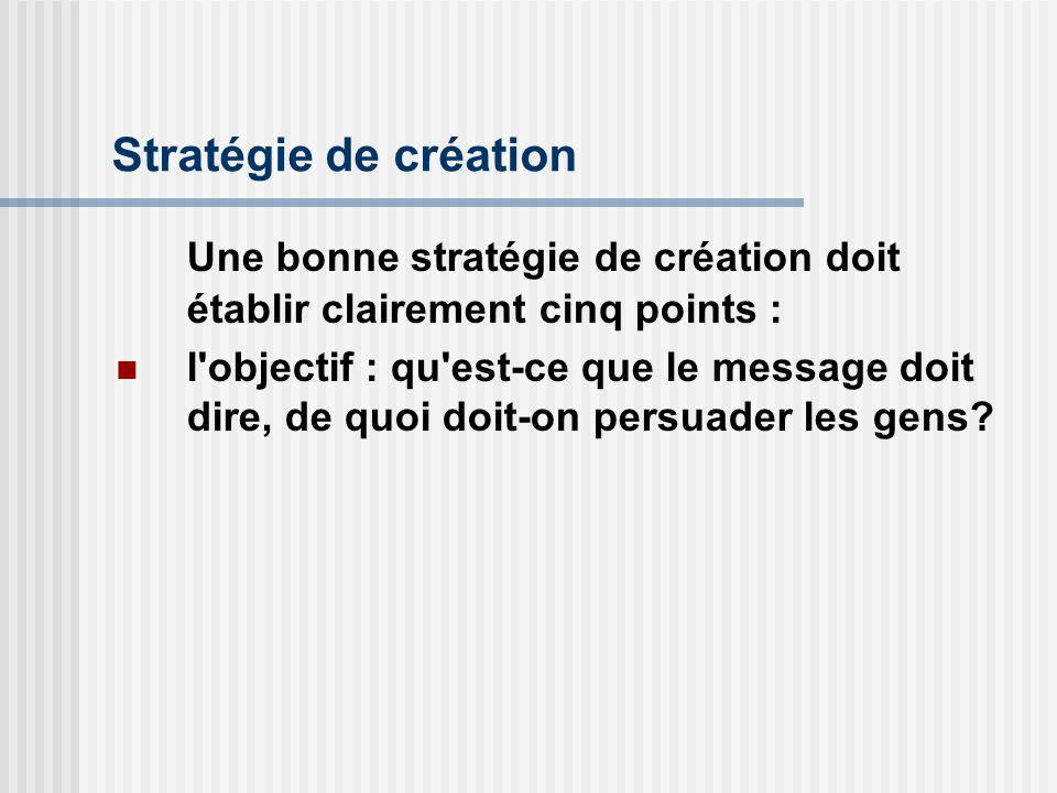 Stratégie de création Une bonne stratégie de création doit établir clairement cinq points : l'objectif : qu'est-ce que le message doit dire, de quoi d