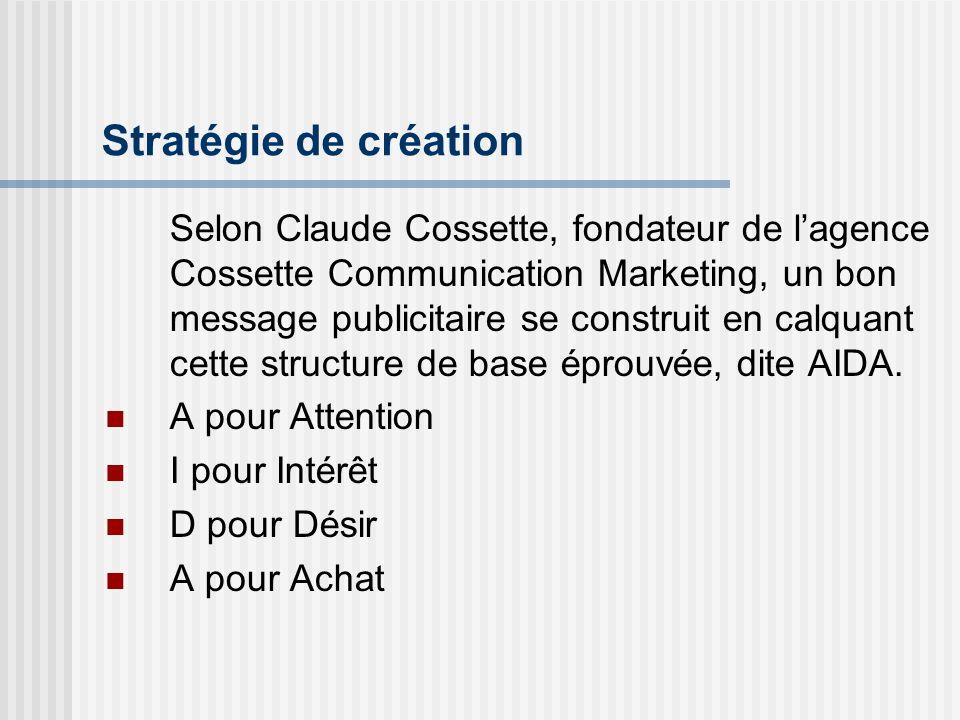 Stratégie de création Selon Claude Cossette, fondateur de lagence Cossette Communication Marketing, un bon message publicitaire se construit en calqua