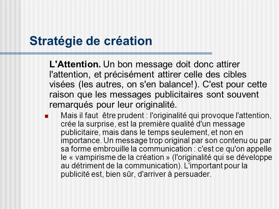 Stratégie de création L'Attention. Un bon message doit donc attirer l'attention, et précisément attirer celle des cibles visées (les autres, on s'en b