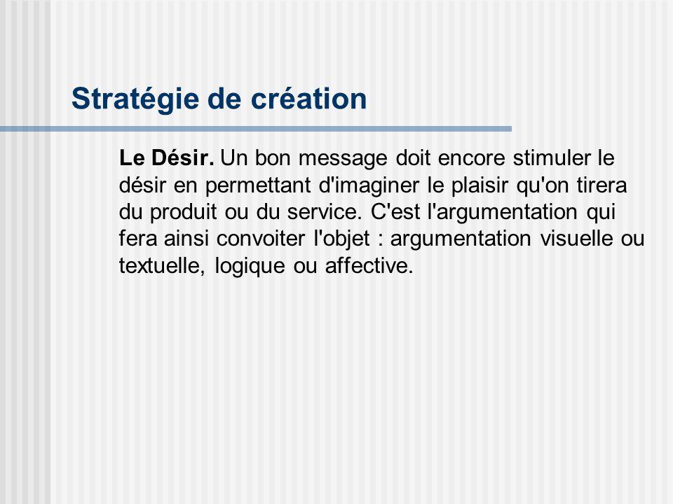Stratégie de création Le Désir. Un bon message doit encore stimuler le désir en permettant d'imaginer le plaisir qu'on tirera du produit ou du service