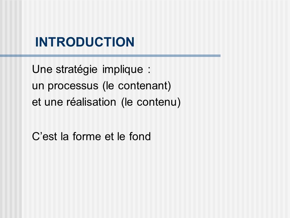 INTRODUCTION Une stratégie implique : un processus (le contenant) et une réalisation (le contenu) Cest la forme et le fond