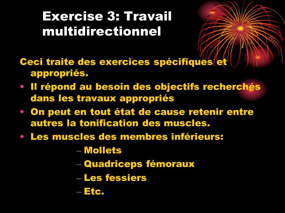 Ceci traite des exercices spécifiques et appropriés. Il répond au besoin des objectifs recherchés dans les travaux appropriés On peut en tout état de