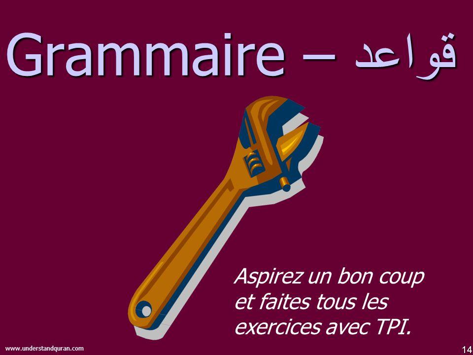 14 www.understandquran.com قواعد – Grammaire Aspirez un bon coup et faites tous les exercices avec TPI.
