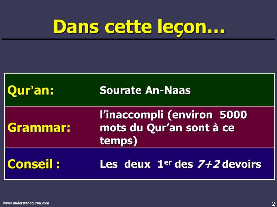 2 www.understandquran.com Dans cette leçon… Qur an: Sourate An-Naas Grammar: linaccompli (environ 5000 mots du Quran sont à ce temps) Conseil : Les deux 1 er des 7+2 devoirs