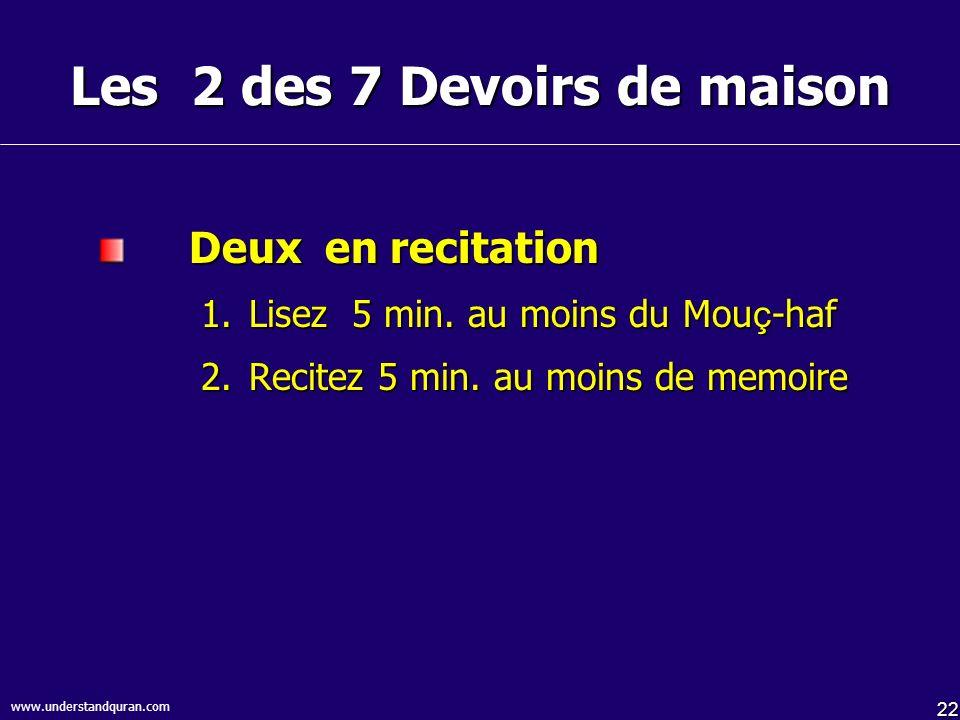 22 www.understandquran.com Les 2 des 7 Devoirs de maison Deux en recitation 1.Lisez 5 min.