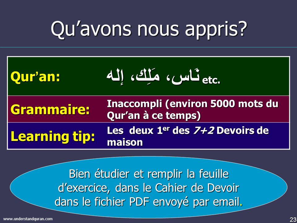 23 www.understandquran.com Quavons nous appris.