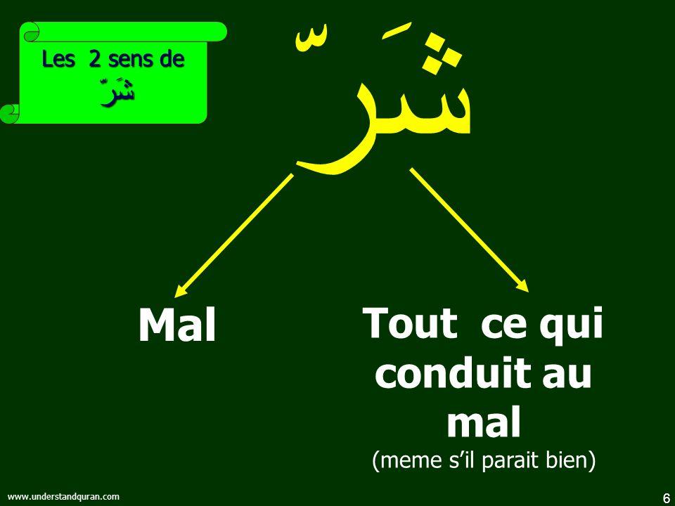 6 www.understandquran.com شَرّ Mal Les 2 sens de شَرّ Tout ce qui conduit au mal (meme sil parait bien)