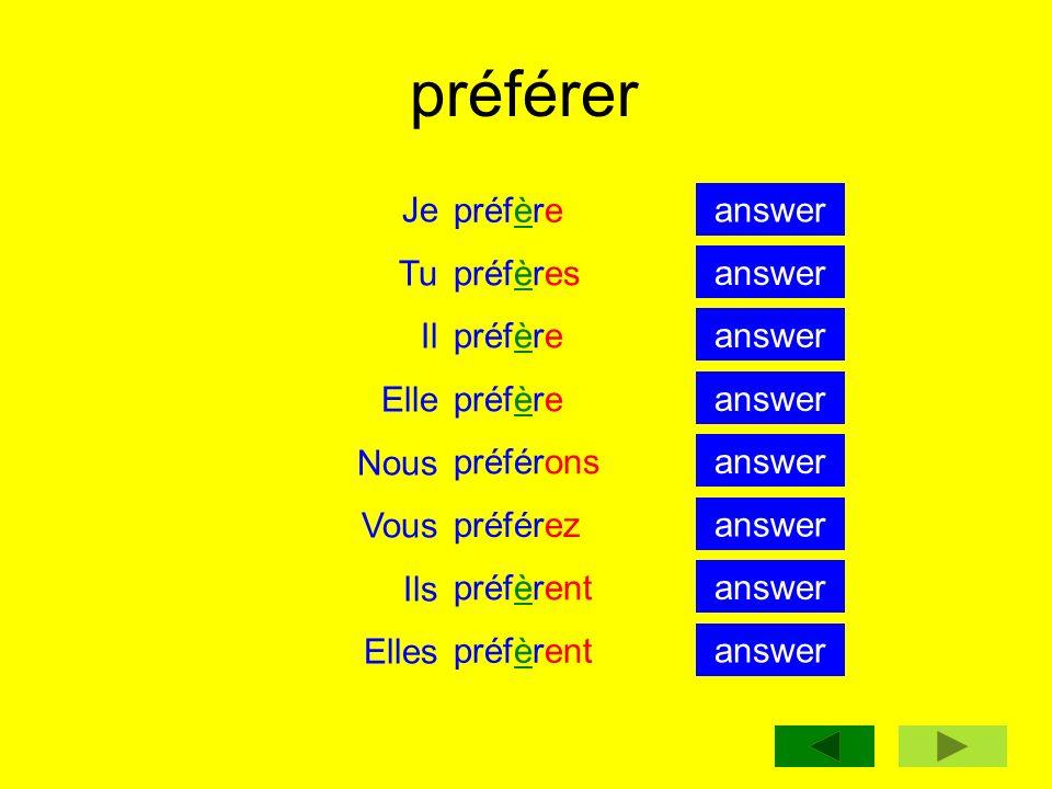 préférer Je Tu Il Elle Nous Vous Ils Elles préfère préfères préfère préférons préférez préfèrent answer