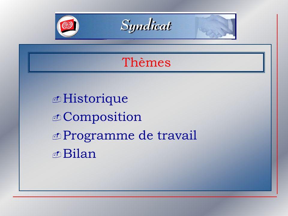 Thèmes Historique Composition Programme de travail Bilan