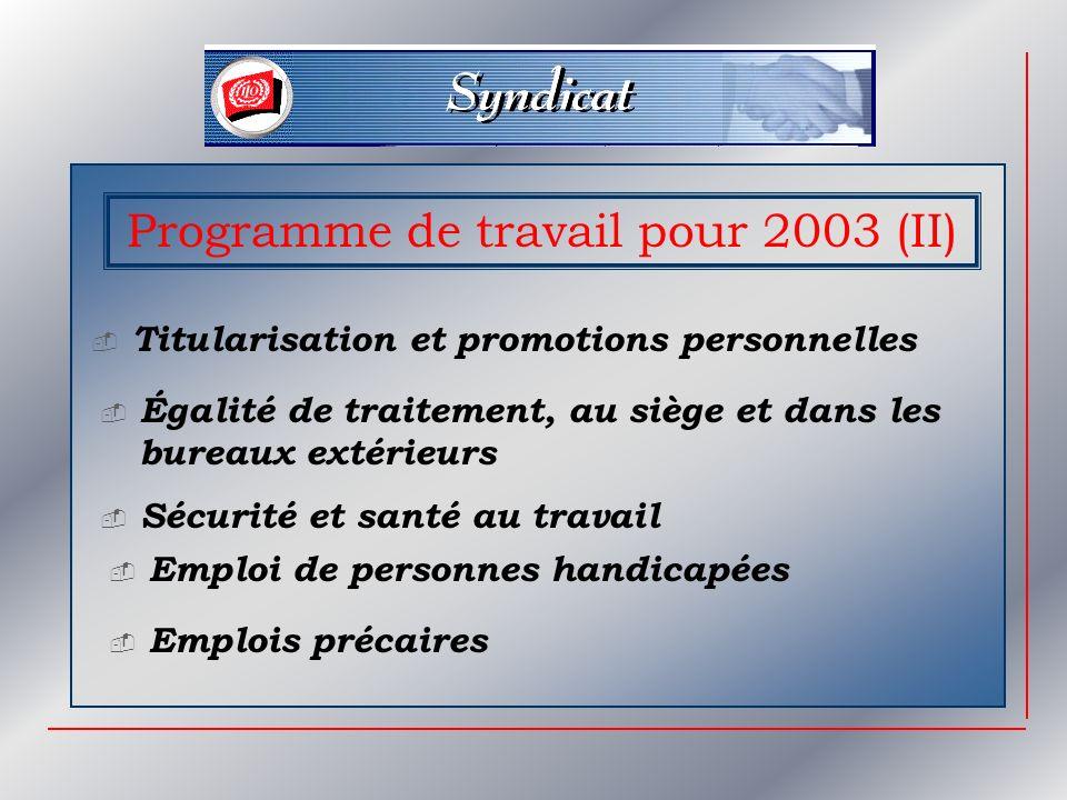 Programme de travail pour 2003 (II) Titularisation et promotions personnelles Égalité de traitement, au siège et dans les bureaux extérieurs Sécurité et santé au travail Emploi de personnes handicapées Emplois précaires