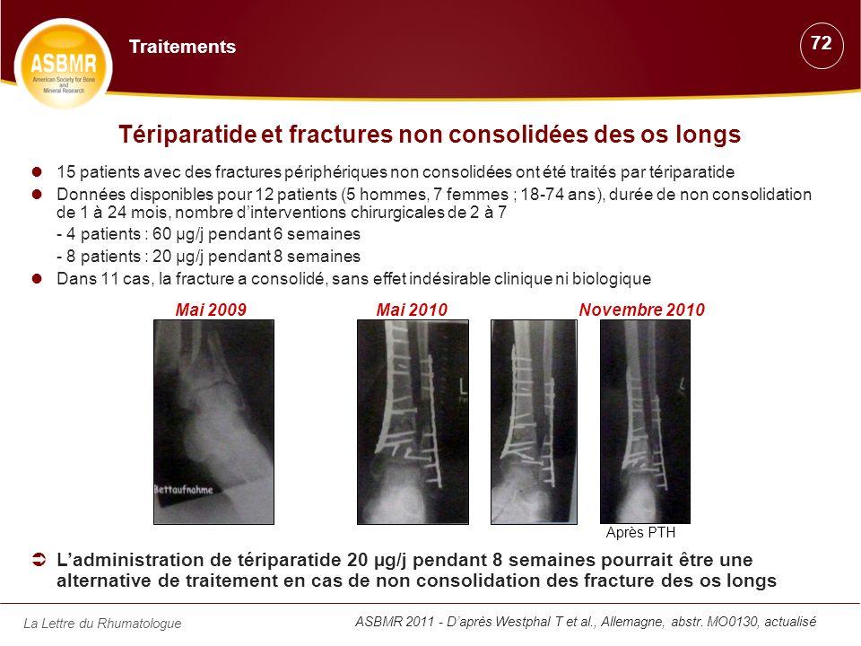La Lettre du Rhumatologue Tériparatide et fractures non consolidées des os longs 15 patients avec des fractures périphériques non consolidées ont été