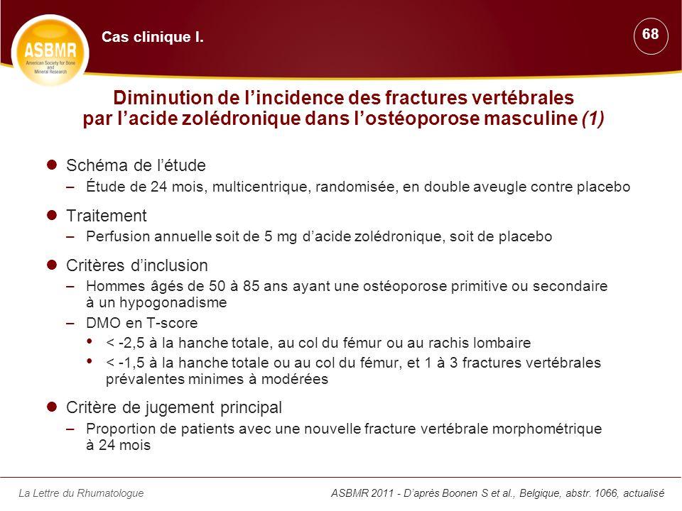 La Lettre du RhumatologueASBMR 2011 - Daprès Boonen S et al., Belgique, abstr. 1066, actualisé Diminution de lincidence des fractures vertébrales par