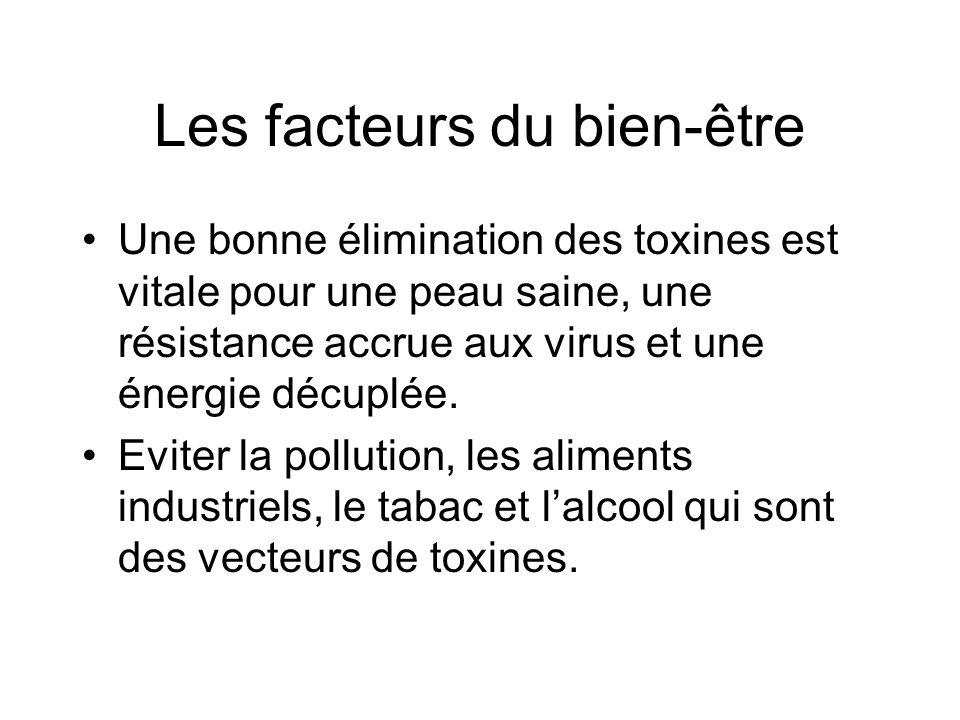 Les facteurs du bien-être Une bonne élimination des toxines est vitale pour une peau saine, une résistance accrue aux virus et une énergie décuplée. E