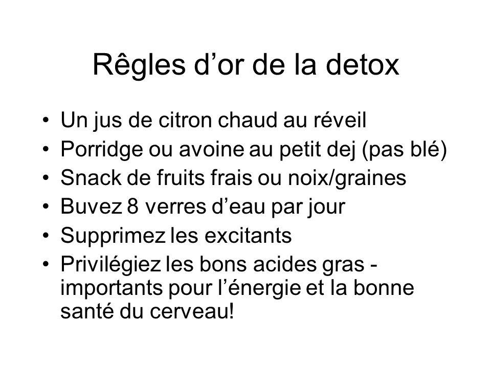 Rêgles dor de la detox Un jus de citron chaud au réveil Porridge ou avoine au petit dej (pas blé) Snack de fruits frais ou noix/graines Buvez 8 verres