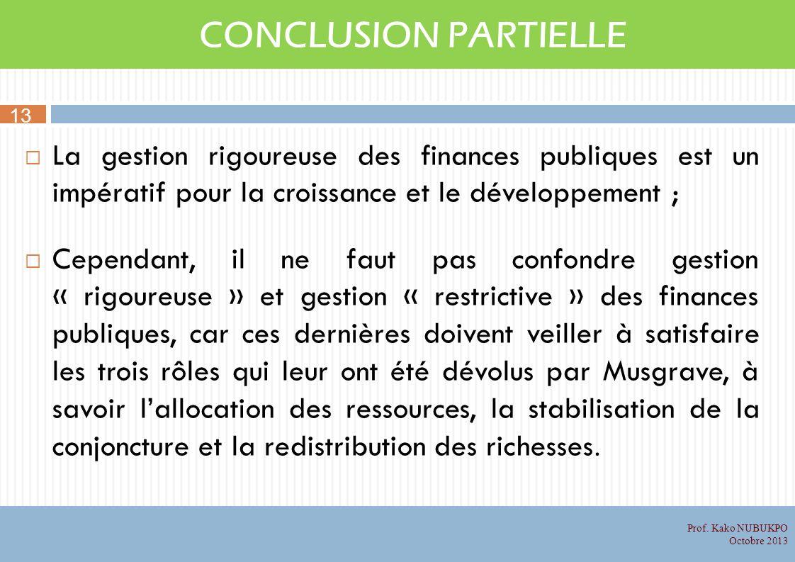 CONCLUSION PARTIELLE La gestion rigoureuse des finances publiques est un impératif pour la croissance et le développement ; Cependant, il ne faut pas