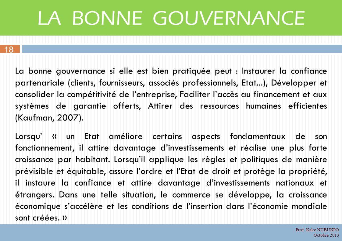 LA BONNE GOUVERNANCE La bonne gouvernance si elle est bien pratiquée peut : Instaurer la confiance partenariale (clients, fournisseurs, associés profe