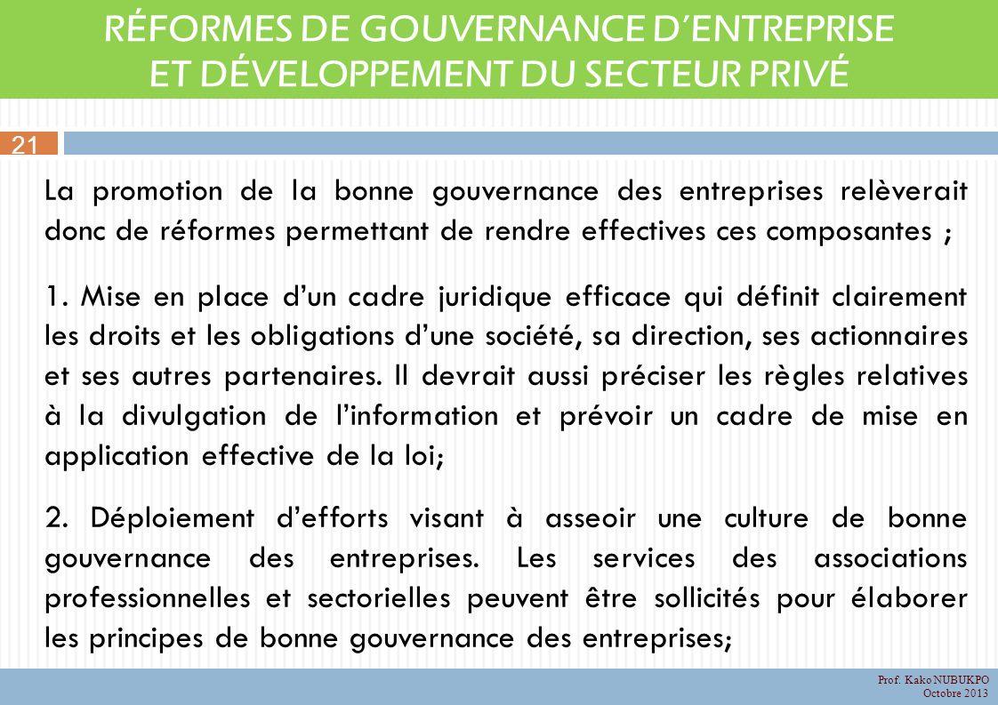 RÉFORMES DE GOUVERNANCE DENTREPRISE ET DÉVELOPPEMENT DU SECTEUR PRIVÉ La promotion de la bonne gouvernance des entreprises relèverait donc de réformes permettant de rendre effectives ces composantes ; 1.