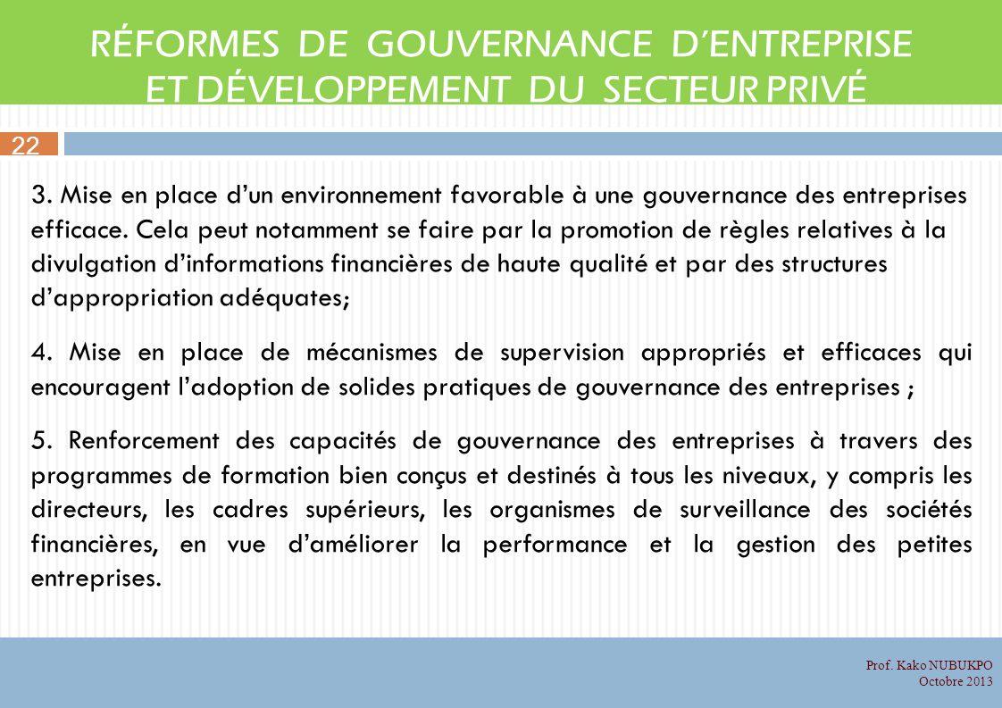 RÉFORMES DE GOUVERNANCE DENTREPRISE ET DÉVELOPPEMENT DU SECTEUR PRIVÉ 3. Mise en place dun environnement favorable à une gouvernance des entreprises e