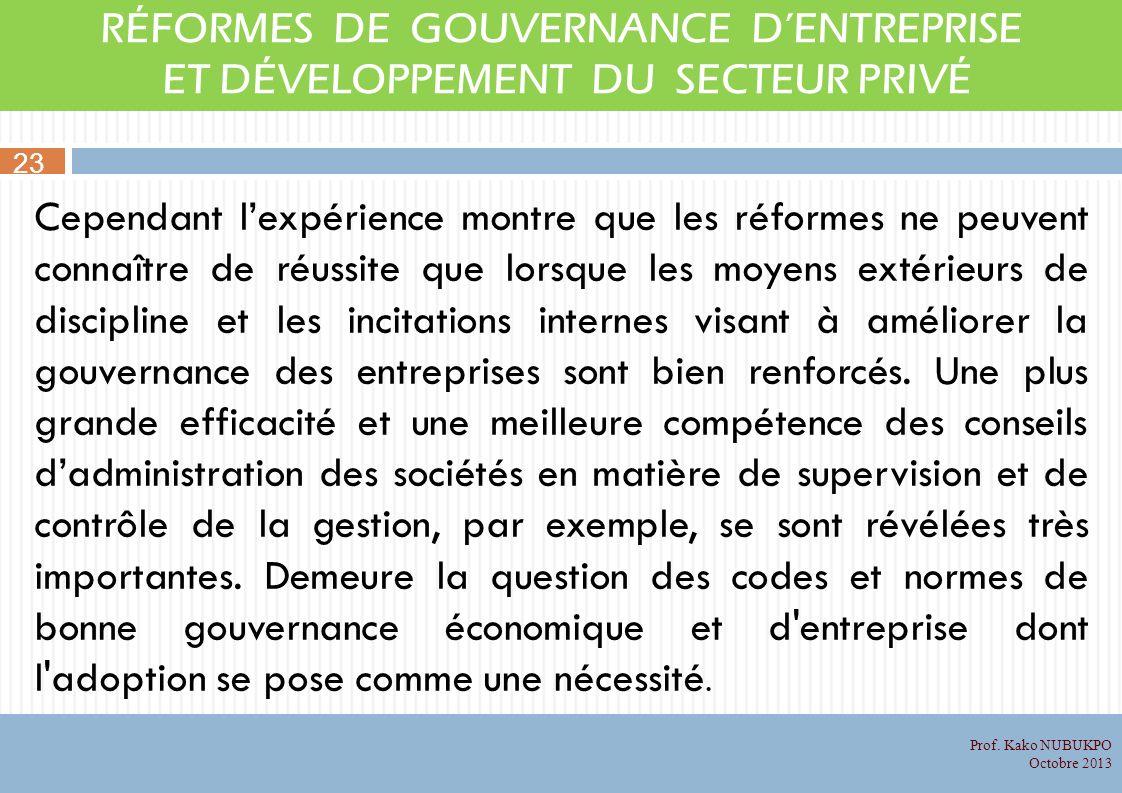 RÉFORMES DE GOUVERNANCE DENTREPRISE ET DÉVELOPPEMENT DU SECTEUR PRIVÉ Cependant lexpérience montre que les réformes ne peuvent connaître de réussite q