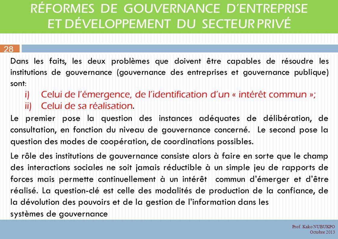 RÉFORMES DE GOUVERNANCE DENTREPRISE ET DÉVELOPPEMENT DU SECTEUR PRIVÉ Dans les faits, les deux problèmes que doivent être capables de résoudre les institutions de gouvernance (gouvernance des entreprises et gouvernance publique) sont : i)Celui de lémergence, de lidentification dun « intérêt commun »; ii)Celui de sa réalisation.