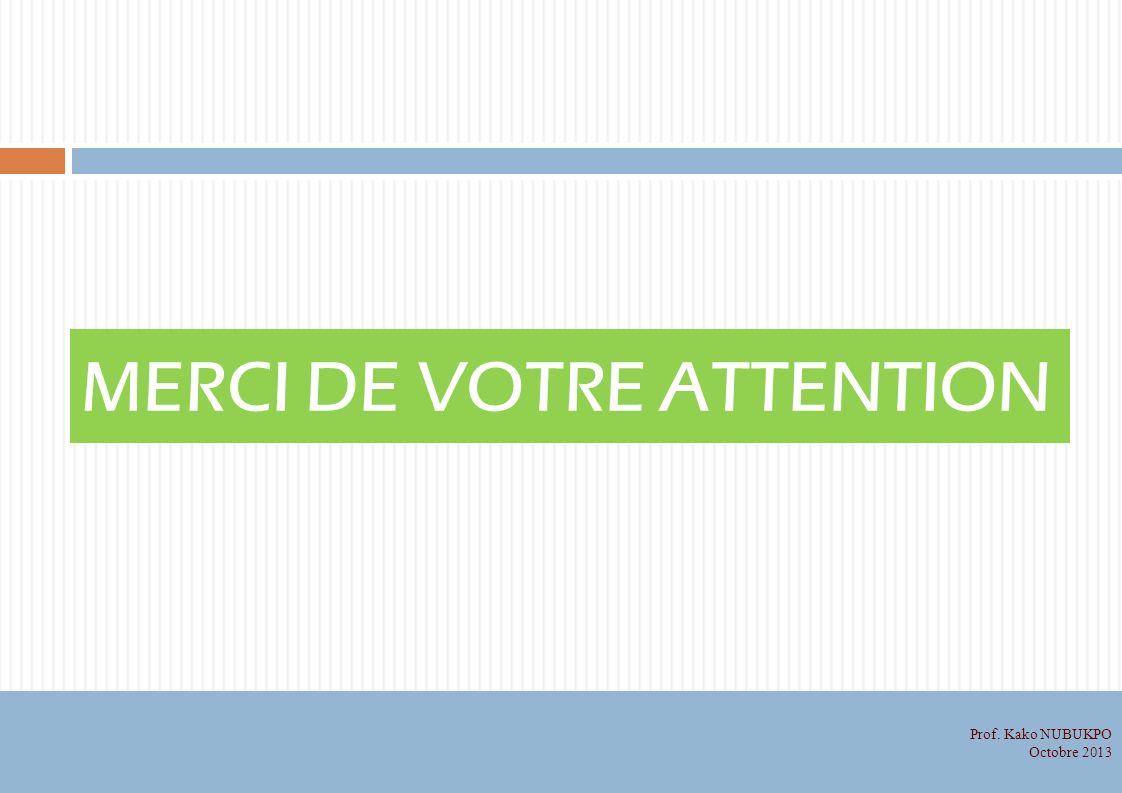 MERCI DE VOTRE ATTENTION Prof. Kako NUBUKPO Octobre 2013