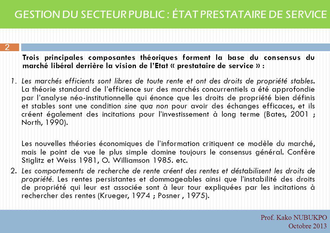 GESTION DU SECTEUR PUBLIC : ÉTAT PRESTATAIRE DE SERVICE Trois principales composantes théoriques forment la base du consensus du marché libéral derriè