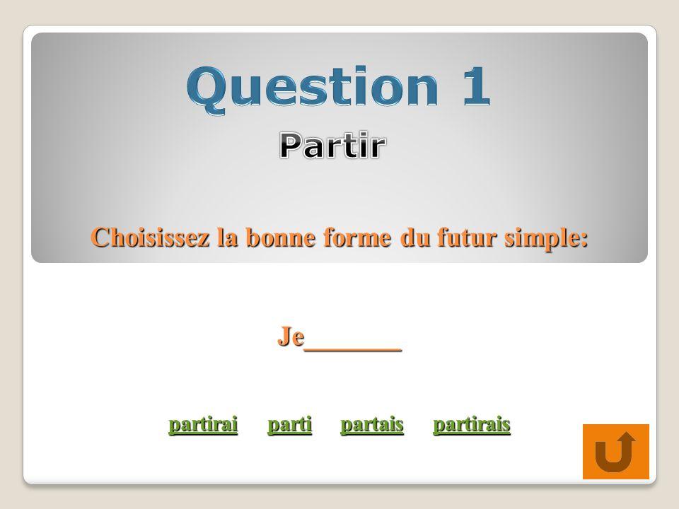 Choisissez la bonne forme du futur simple: Je_______ partirai parti partais partirais partiraipartipartaispartirais partiraipartipartaispartirais