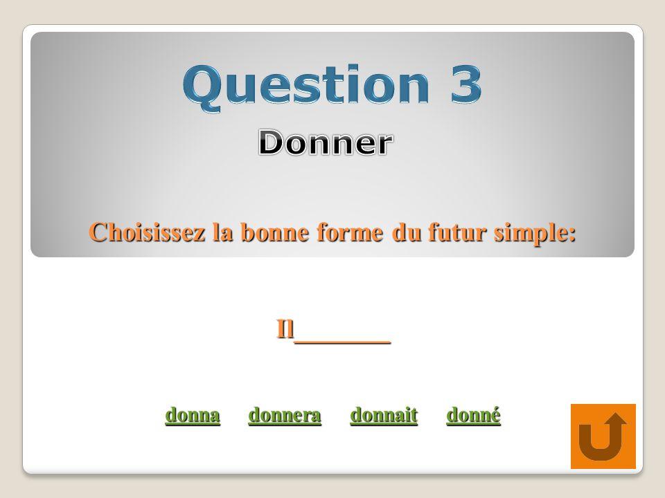 Choisissez la bonne forme du futur simple: Il_______ donna donnera donnait donné donnadonneradonnaitdonné donnadonneradonnaitdonné