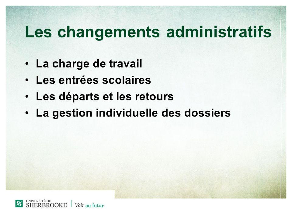 Les changements administratifs La charge de travail Les entrées scolaires Les départs et les retours La gestion individuelle des dossiers