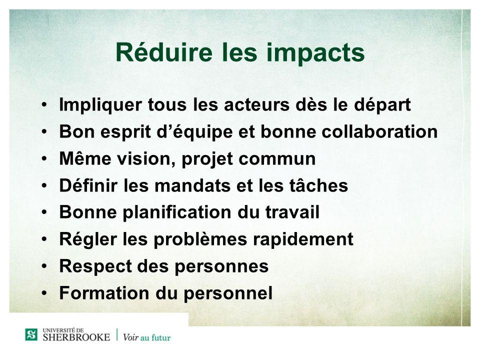 Réduire les impacts Impliquer tous les acteurs dès le départ Bon esprit déquipe et bonne collaboration Même vision, projet commun Définir les mandats