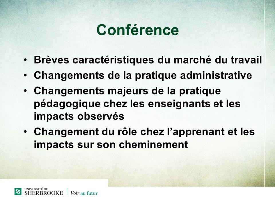 Conférence Brèves caractéristiques du marché du travail Changements de la pratique administrative Changements majeurs de la pratique pédagogique chez les enseignants et les impacts observés Changement du rôle chez lapprenant et les impacts sur son cheminement