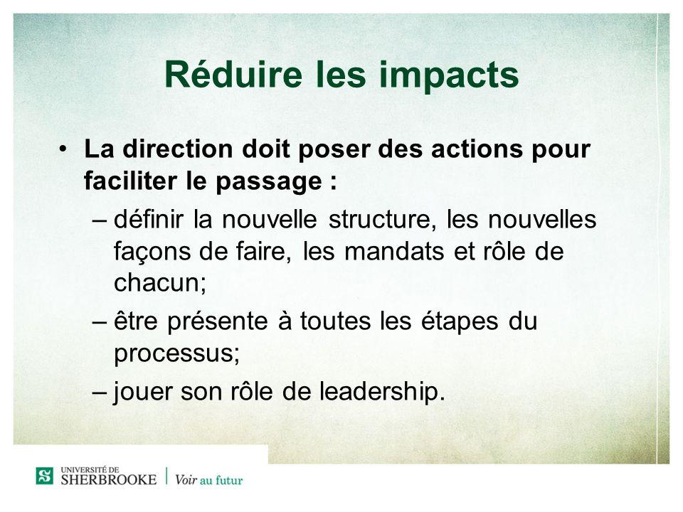 Réduire les impacts La direction doit poser des actions pour faciliter le passage : –définir la nouvelle structure, les nouvelles façons de faire, les mandats et rôle de chacun; –être présente à toutes les étapes du processus; –jouer son rôle de leadership.