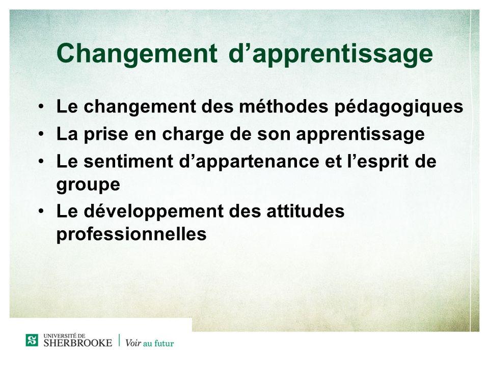 Changement dapprentissage Le changement des méthodes pédagogiques La prise en charge de son apprentissage Le sentiment dappartenance et lesprit de groupe Le développement des attitudes professionnelles