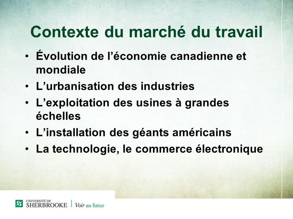 Contexte du marché du travail Évolution de léconomie canadienne et mondiale Lurbanisation des industries Lexploitation des usines à grandes échelles Linstallation des géants américains La technologie, le commerce électronique