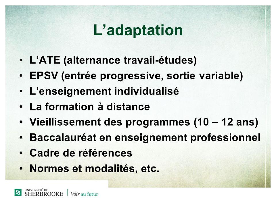 Ladaptation LATE (alternance travail-études) EPSV (entrée progressive, sortie variable) Lenseignement individualisé La formation à distance Vieillisse