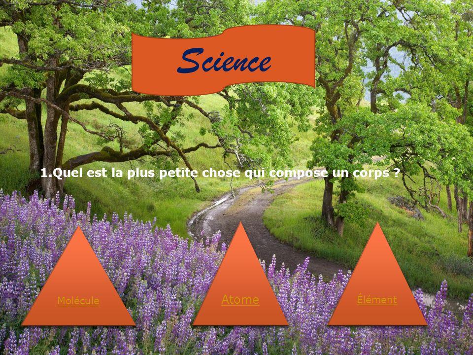 Science Molécule Atome Élément 1.Quel est la plus petite chose qui compose un corps