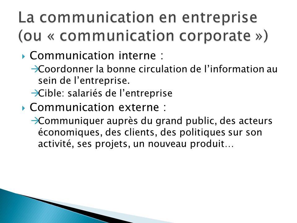 Communication interne : Coordonner la bonne circulation de linformation au sein de lentreprise.