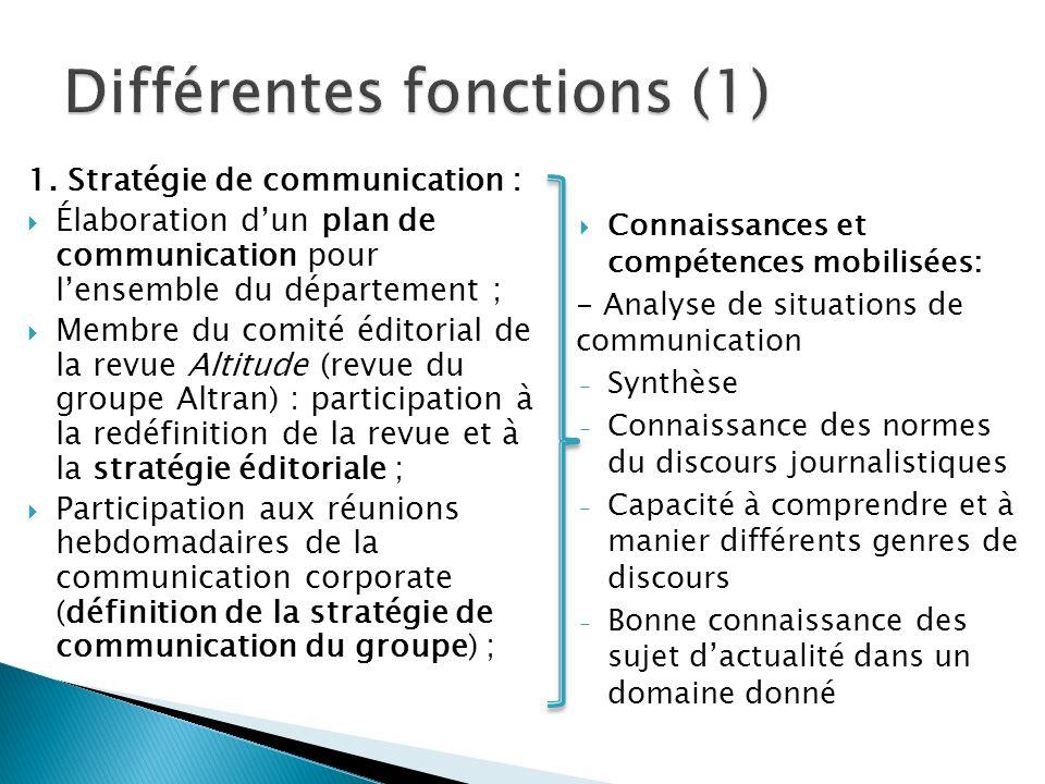 1. Stratégie de communication : Élaboration dun plan de communication pour lensemble du département ; Membre du comité éditorial de la revue Altitude