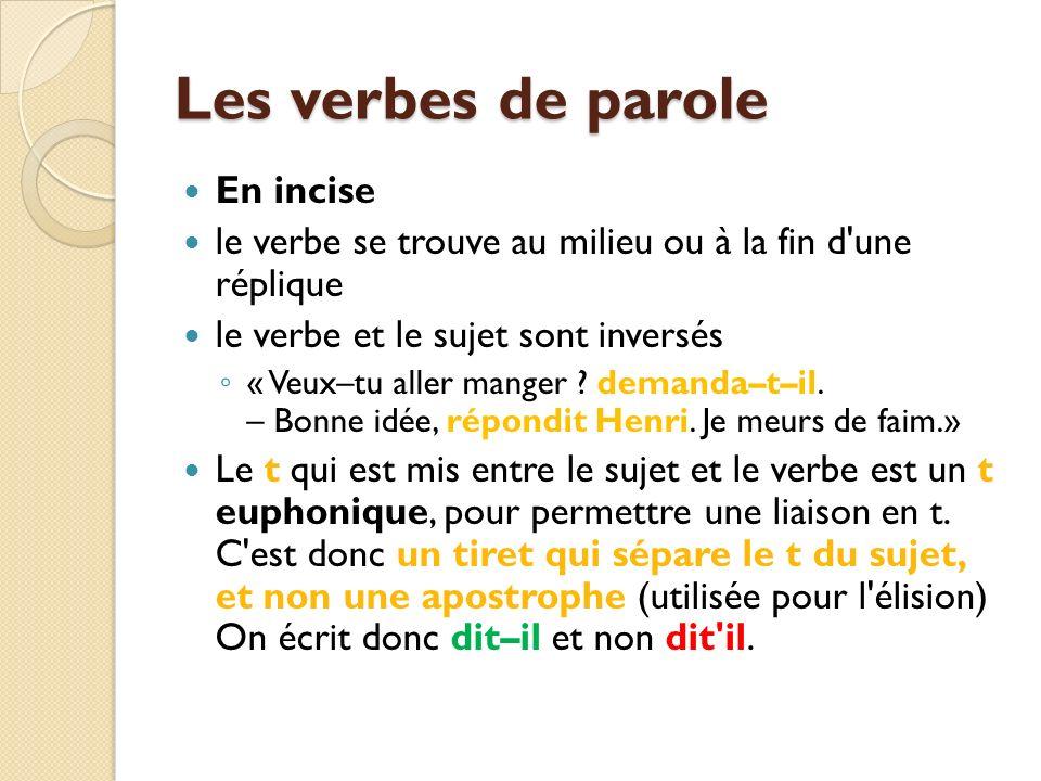 Les verbes de parole En incise le verbe se trouve au milieu ou à la fin d une réplique le verbe et le sujet sont inversés « Veux–tu aller manger .