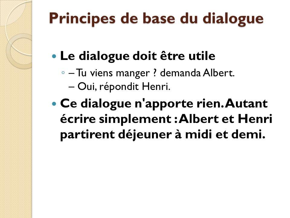 Principes de base du dialogue Le dialogue doit être utile – Tu viens manger .