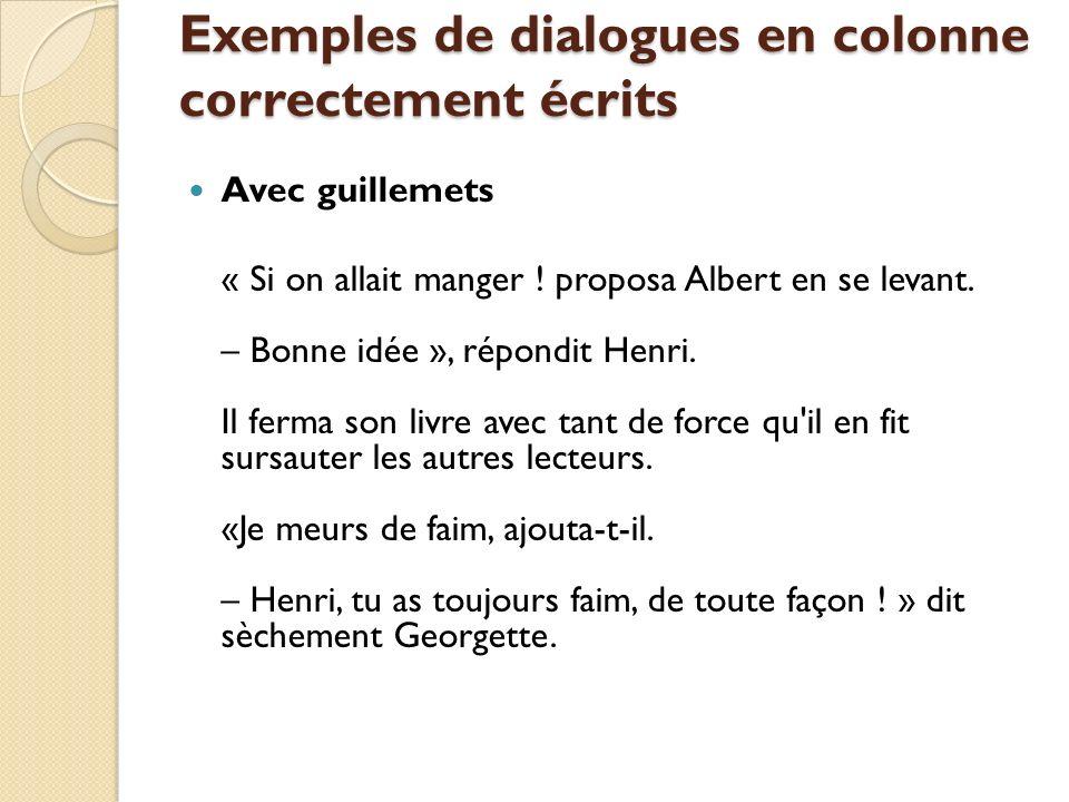 Exemples de dialogues en colonne correctement écrits Sans guillemets – Si on allait manger .
