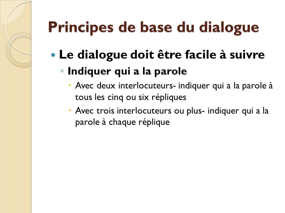 Principes de base du dialogue Le dialogue doit être facile à suivre Indiquer qui a la parole Avec deux interlocuteurs- indiquer qui a la parole à tous les cinq ou six répliques Avec trois interlocuteurs ou plus- indiquer qui a la parole à chaque réplique