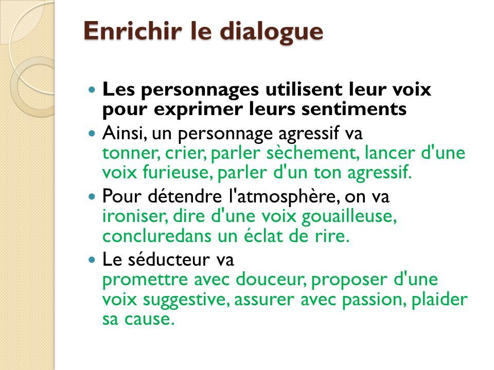 Enrichir le dialogue Les personnages utilisent leur voix pour exprimer leurs sentiments Ainsi, un personnage agressif va tonner, crier, parler sèchement, lancer d une voix furieuse, parler d un ton agressif.