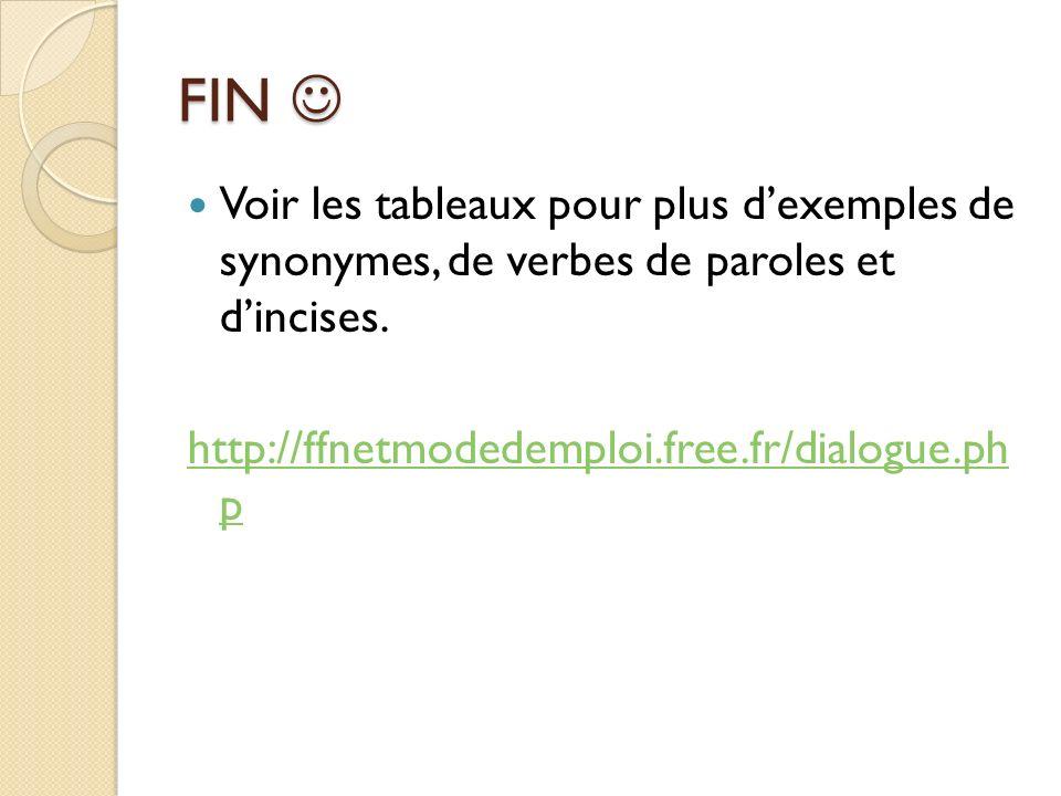 FIN FIN Voir les tableaux pour plus dexemples de synonymes, de verbes de paroles et dincises.