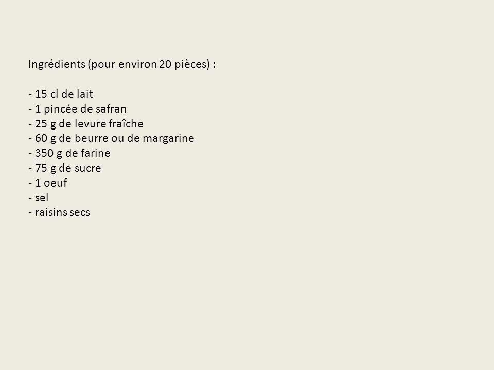 Ingrédients (pour environ 20 pièces) : - 15 cl de lait - 1 pincée de safran - 25 g de levure fraîche - 60 g de beurre ou de margarine - 350 g de farine - 75 g de sucre - 1 oeuf - sel - raisins secs