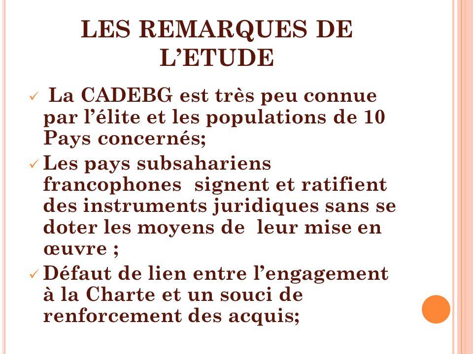 LES REMARQUES DE LETUDE La CADEBG est très peu connue par lélite et les populations de 10 Pays concernés; Les pays subsahariens francophones signent e