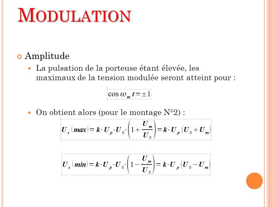 Amplitude La pulsation de la porteuse étant élevée, les maximaux de la tension modulée seront atteint pour : On obtient alors (pour le montage N°2) :