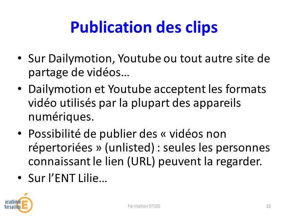 Publication des clips Sur Dailymotion, Youtube ou tout autre site de partage de vidéos… Dailymotion et Youtube acceptent les formats vidéo utilisés pa