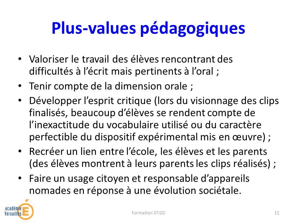 Plus-values pédagogiques Valoriser le travail des élèves rencontrant des difficultés à lécrit mais pertinents à loral ; Tenir compte de la dimension o