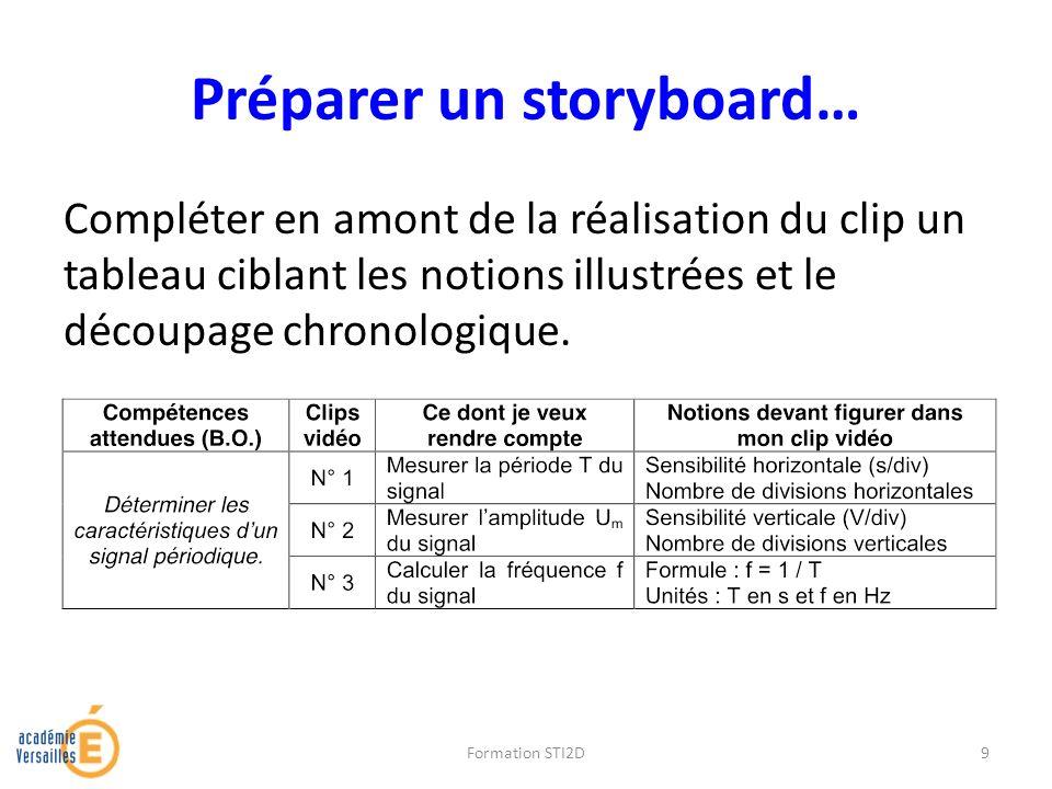 Préparer un storyboard… Compléter en amont de la réalisation du clip un tableau ciblant les notions illustrées et le découpage chronologique. Formatio